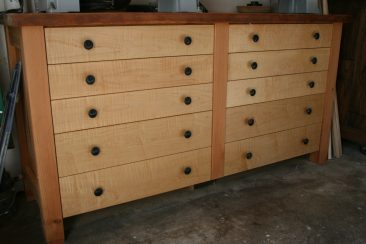 Curly maple lathe base cabinet with reclaimed fir structure